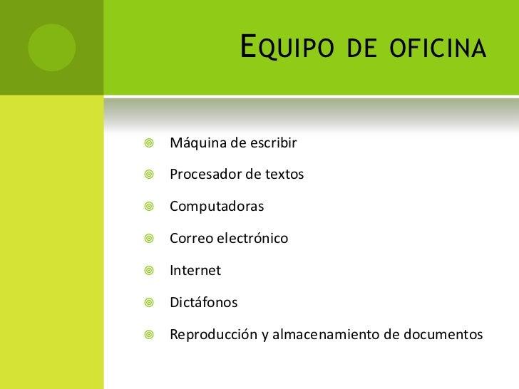 Organizaci n de oficinas for Equipo de oficina