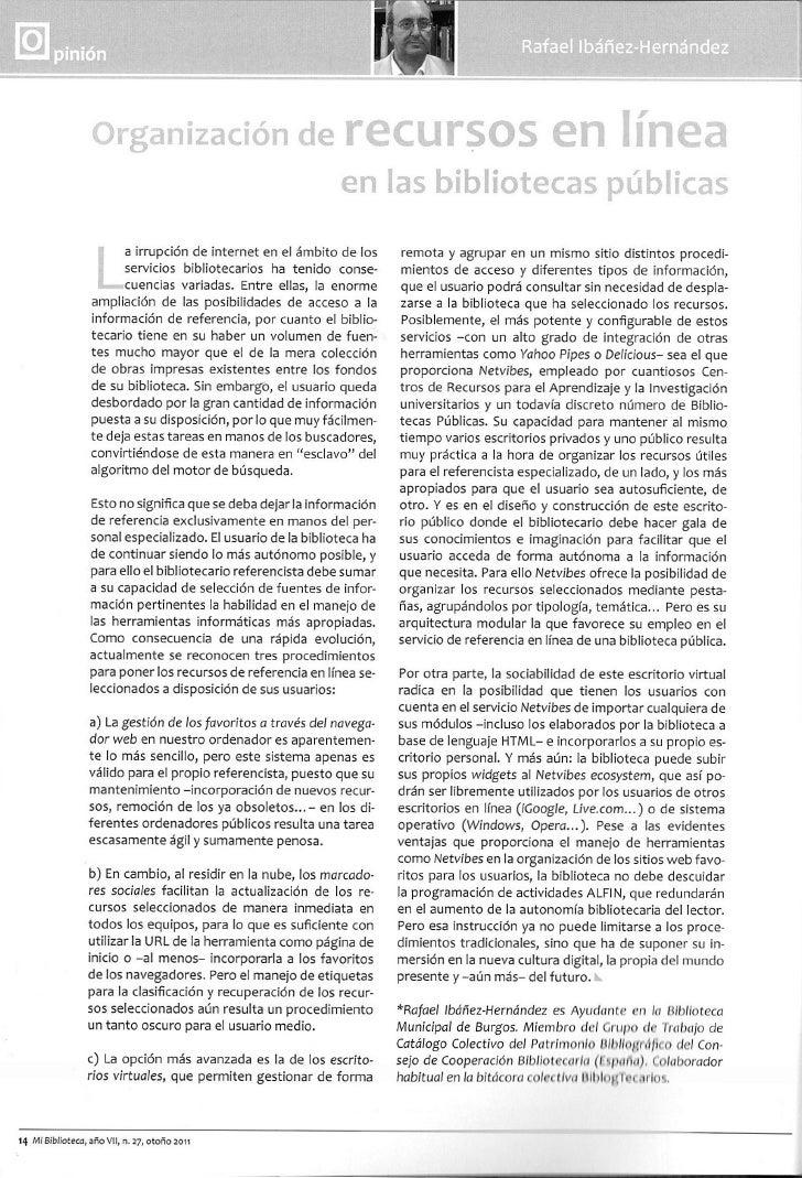 Organización de recursos mi biblioteca 27_otoño_2011