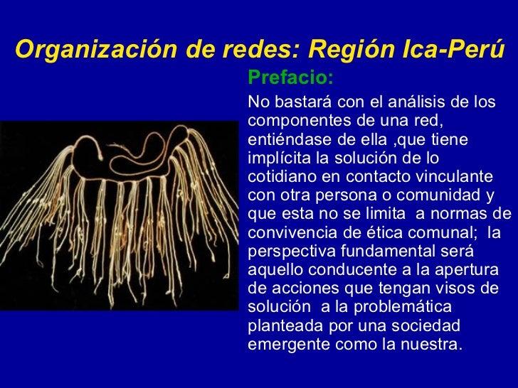 Organización de redes: Región Ica-Perú Prefacio: No bastará con el análisis de los componentes de una red, entiéndase de e...