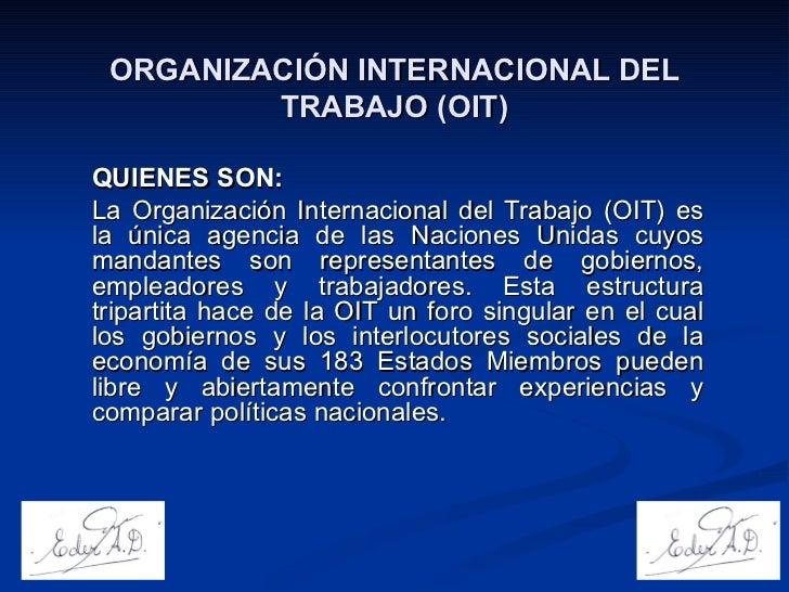 Organizaci n internacional del trabajo oit for Que es politica internacional