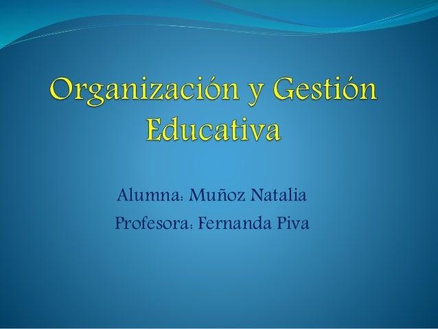 Alumna: Muñoz Natalia  Profesora: Fernanda Piva