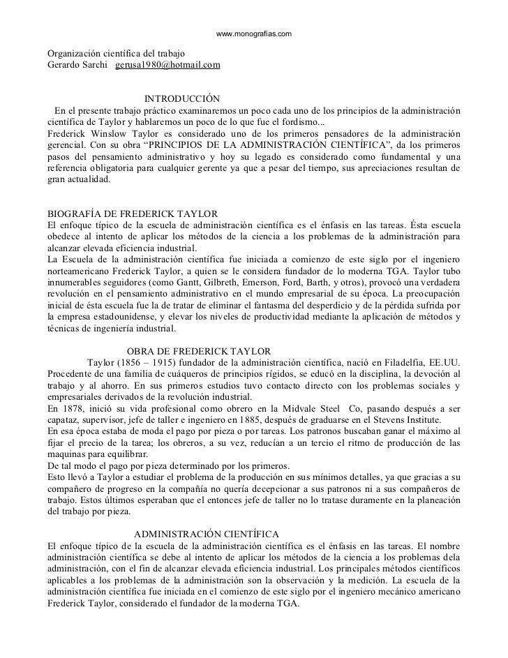 www.monografias.comOrganización científica del trabajoGerardo Sarchi gerusa1980@hotmail.com                         INTROD...