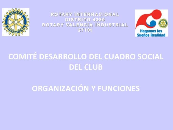 COMITÉ DESARROLLO DEL CUADRO SOCIAL DEL CLUB ORGANIZACIÓN Y FUNCIONES
