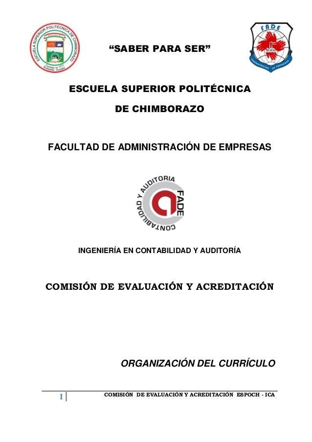 ORGANIZACION DEL CURRICULO CONTABILIDAD Y AUDITORIA ESPOCH