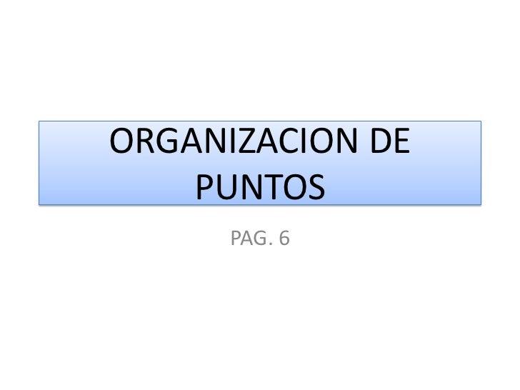 ORGANIZACION DE    PUNTOS     PAG. 6
