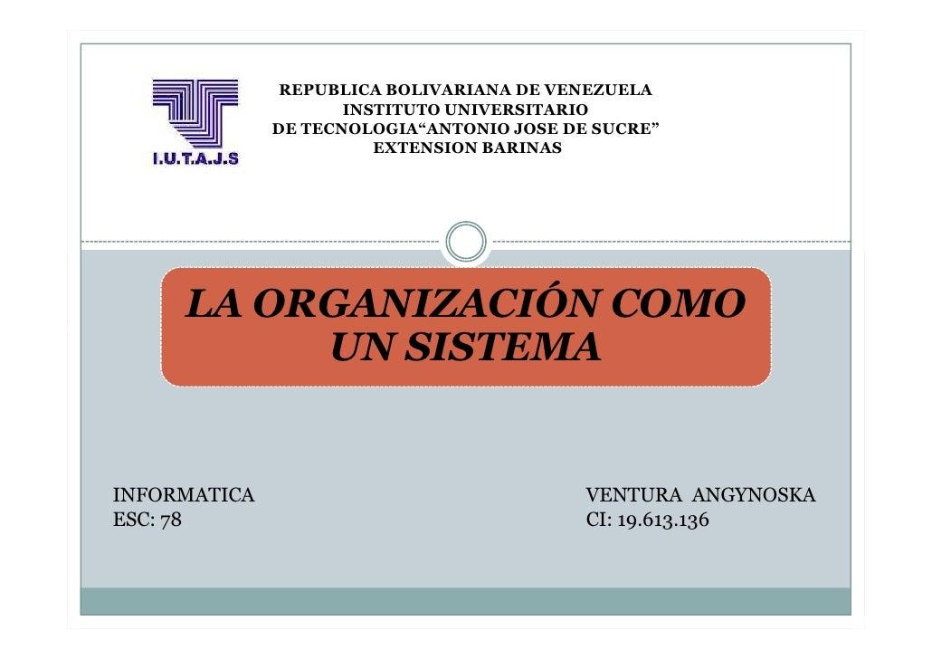 "REPUBLICA BOLIVARIANA DE VENEZUELA                     INSTITUTO UNIVERSITARIO              DE TECNOLOGIA""ANTONIO JOSE DE ..."