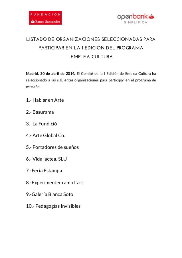 Listado de organizaciones seleccionadas para participar en la I Edición de Emplea Cultura
