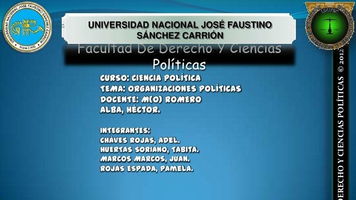 UNIVERSIDAD NACIONAL JOSÉ FAUSTINO          SÁNCHEZ CARRIÓNFacultad De Derecho Y Ciencias                                 ...