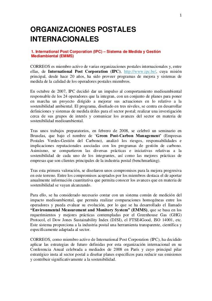 1ORGANIZACIONES POSTALESINTERNACIONALES1. International Post Corporation (IPC) – Sistema de Medida y GestiónMediambiental ...