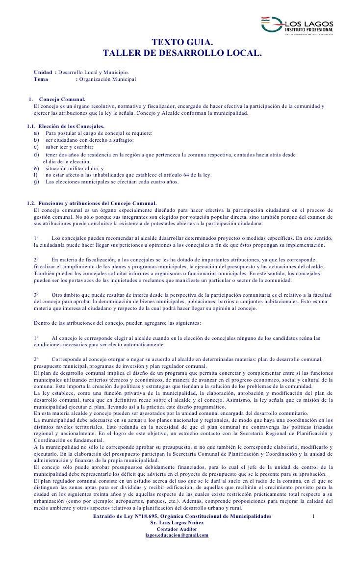 TEXTO GUIA.                                   TALLER DE DESARROLLO LOCAL.     Unidad : Desarrollo Local y Municipio.     T...