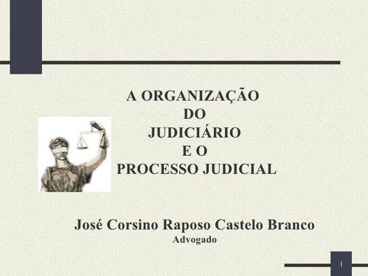 A ORGANIZAÇÃO  DO  JUDICIÁRIO  E O  PROCESSO JUDICIAL José Corsino Raposo Castelo Branco Advogado