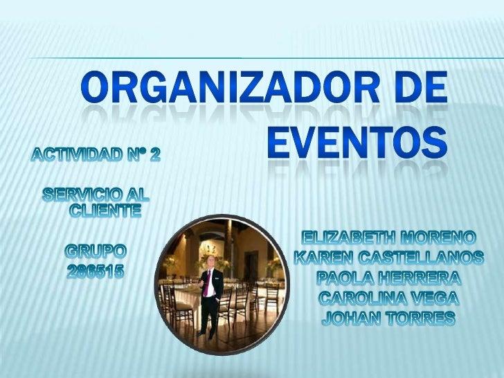 organizador de eventos actividad 2