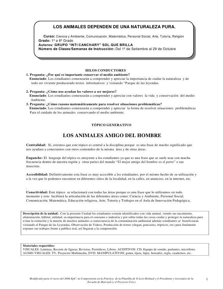 LOS ANIMALES DEPENDEN DE UNA NATURALEZA PURA.              Curso: Ciencia y Ambiente, Comunicación, Matemática, Personal S...