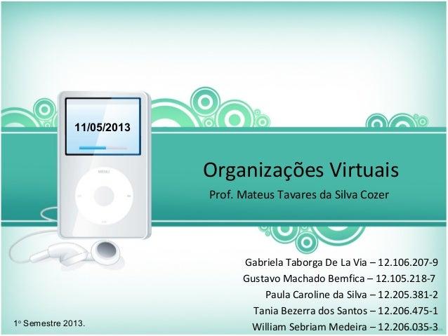 Organizações VirtuaisProf. Mateus Tavares da Silva Cozer11/05/20131oSemestre 2013.Gabriela Taborga De La Via – 12.106.207-...