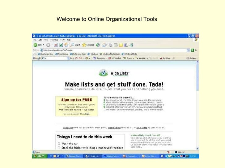 Welcome to Online Organizational Tools