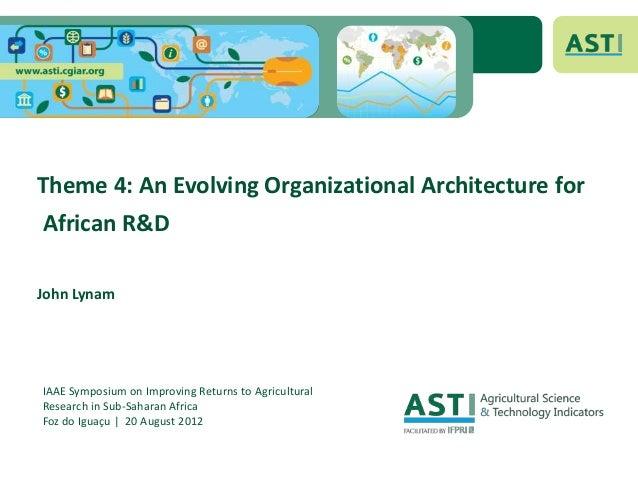 Theme 4: An Evolving Organizational Architecture forAfrican R&DJohn LynamIAAE Symposium on Improving Returns to Agricultur...