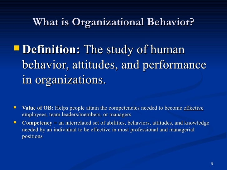 organizational behavior definition Behavior management is a process that guides people to change their actions within a specific context behavior management is usually used to change negative behaviors and habits such as those that occur in education and behavioral health the process involves identifying the negative behavior.