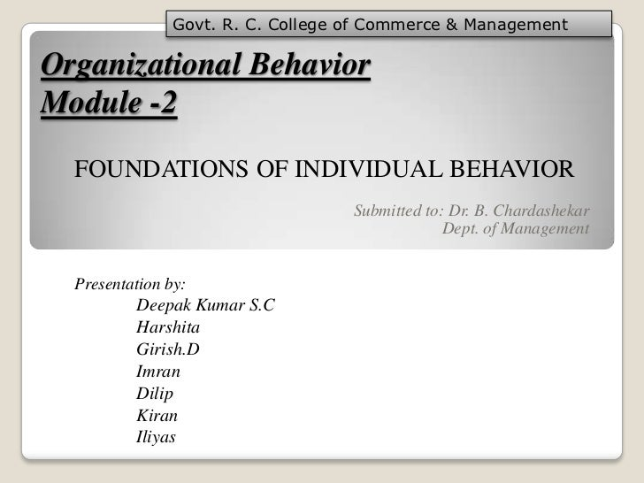 Organizational behavior girish & team