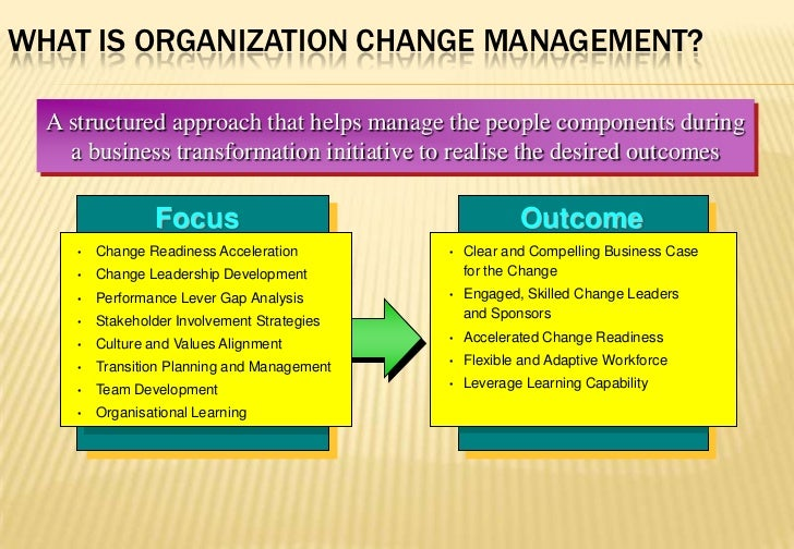 What is Organization Change Management?<br />A structured approach that helps manage the people components during<br />a b...