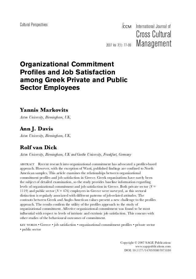 thesis on organizational commitment and job satisfaction