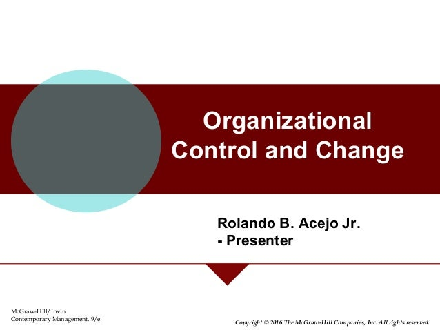 organizational control and change American management association international is the world's largest membership-based management development and executive training organization.