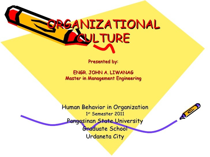ORGANIZATIONAL CULTURE Presented by: ENGR. JOHN A. LIWANAG Master in Management Engineering Human Behavior in Organization...