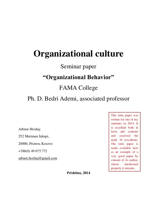 essay on organizational culture Organizational culture culture is something that encompasses all of us it helps us to understand how things are created, acknowledged, developed and managed.