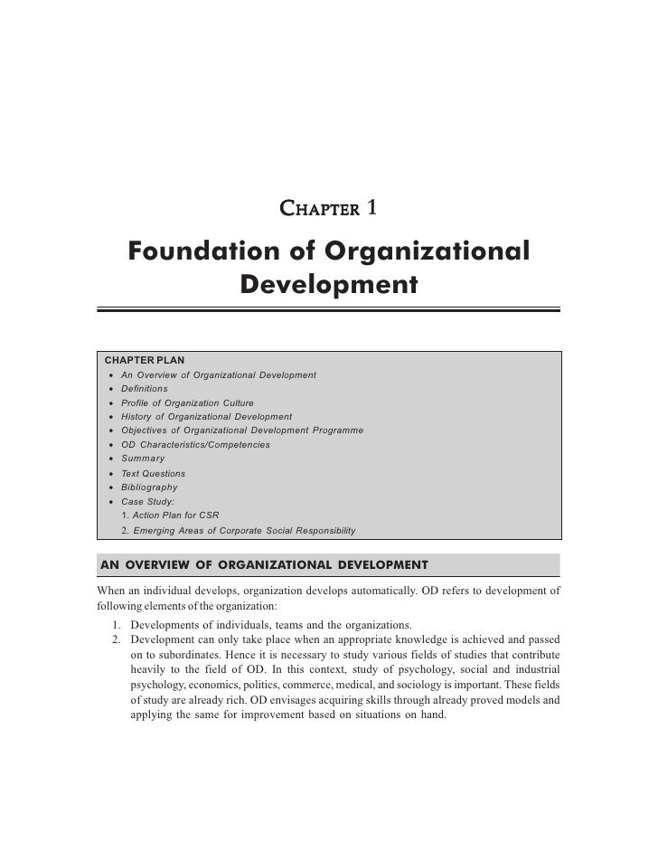 CHAPTER 1       Foundation of Organizational              Development CHAPTER PLAN  •   An Overview of Organizational Deve...