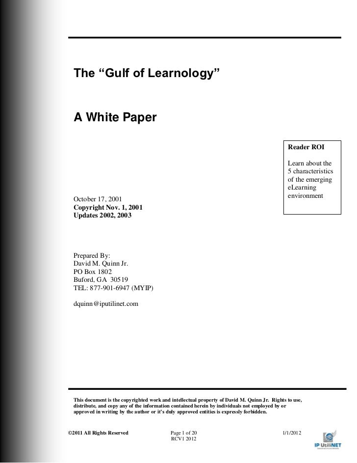 "The ""Gulf of Learnology""  A White Paper                                                                                   ..."