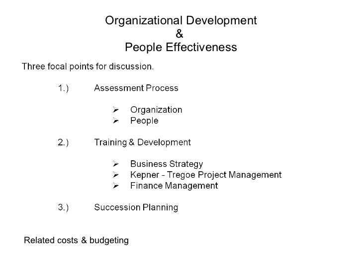 Organizational Development &   People Effectiveness  Related costs & budgeting