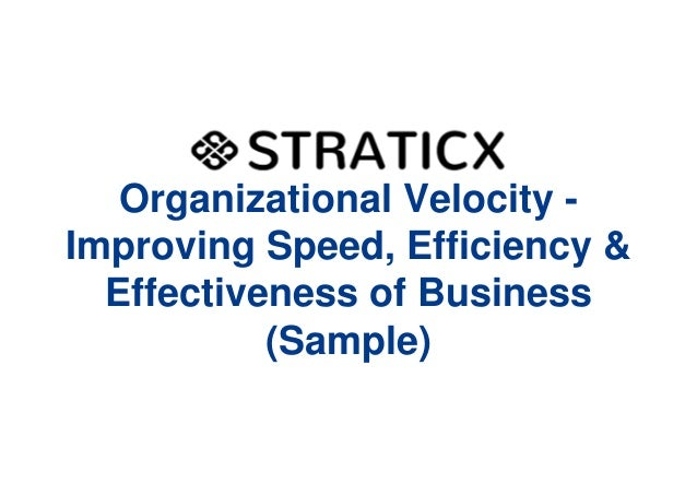 Organizational Velocity Improving Speed, Efficiency & Effectiveness of Business (Sample)