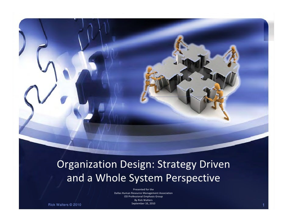 OrganizationDesign:StrategyDriven       andaWholeSystemPerspective       and a Whole System Perspective           ...