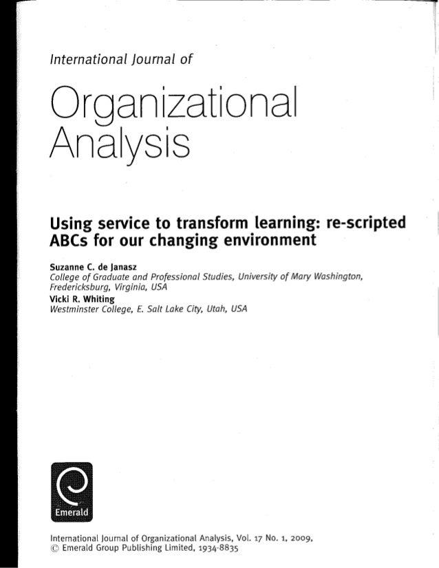 Organizationl analysis   using service to transform learning
