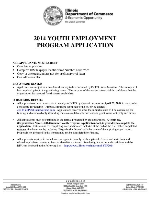 DCEO 2014 Summer Youth Program Application