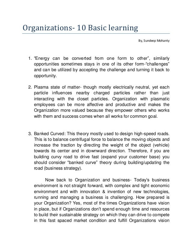 Organizations  10 basic learning