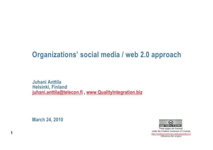 Organizations Social Media   Web 2 0 Approach