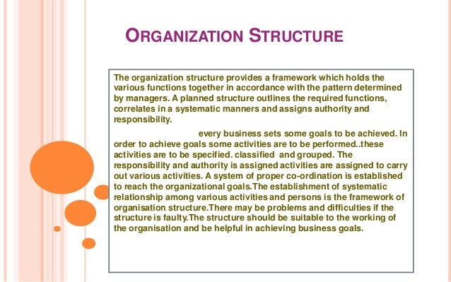 ORGANIZATION STRUCTUREThe organization structure provides a framework which holds thevarious functions together in accorda...