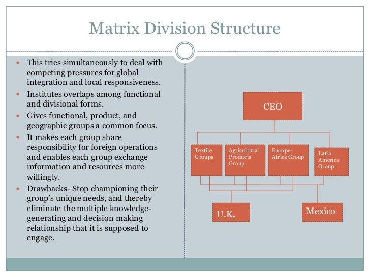 matrix organization structure Most discussions about matrix organizations usually quickly devolve into a debate between two sides: those who love to hate the matrix, and those who hate to love the matrix the former claim that a matrix structure slows decision making and obfuscates accountability the latter retort that a matrix.