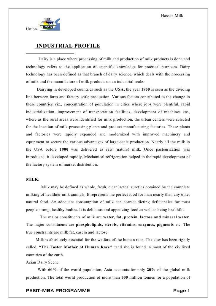 Organization study in kmf, hassan