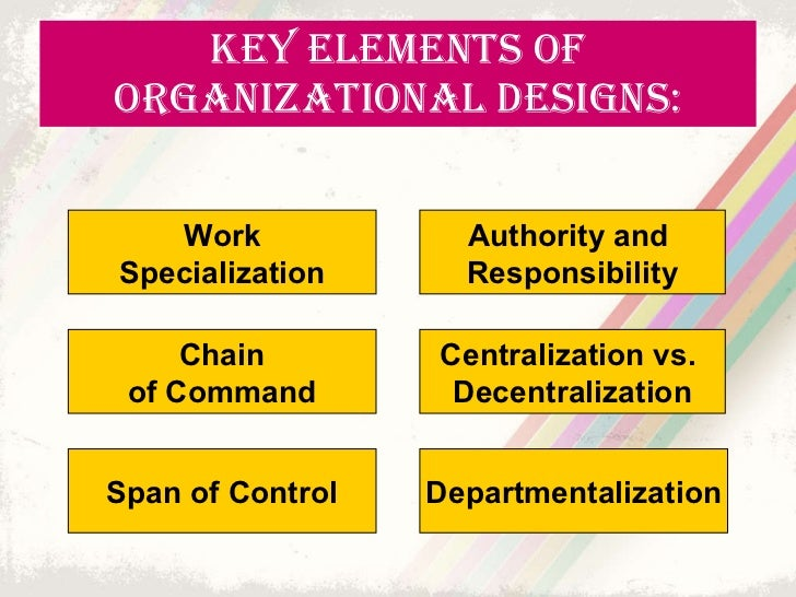 organizational structure and work design Design your organization so that it's easy for people to be accountable for their part of the work without being micromanaged make sure that decision rights are clear and that information flows rapidly and clearly from the executive committee to business units, functions, and departments.