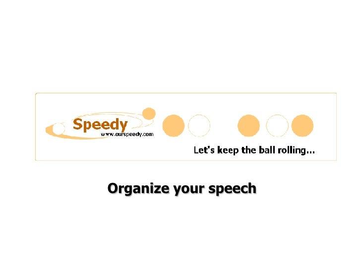 Organize Your Speech