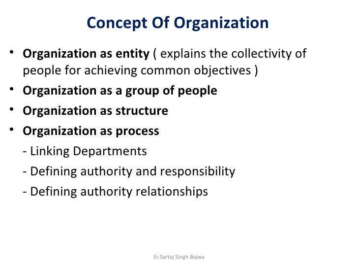 Concept Of Organization <ul><li>Organization as entity  ( explains the collectivity of people for achieving common objecti...