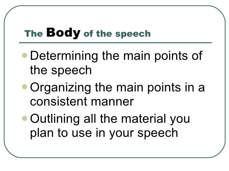 determining the thesis of a speech Activity: formulating thesis statements  identify at least one speech you have  seen presented using the four types of delivery: extemporaneous, impromptu,.