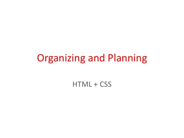 Organizing and planning