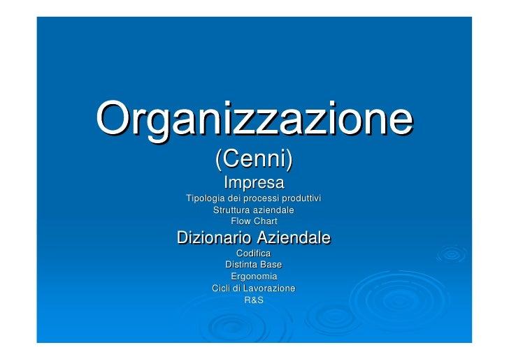 <ul><li>Organizzazione </li></ul><ul><li>(Cenni) </li></ul><ul><li>Impresa </li></ul><ul><li>Tipologia dei processi produt...
