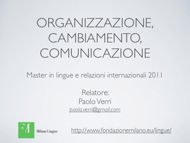 ORGANIZZAZIONE,    CAMBIAMENTO,   COMUNICAZIONEMaster in lingue e relazioni internazionali 2011                   Relatore...