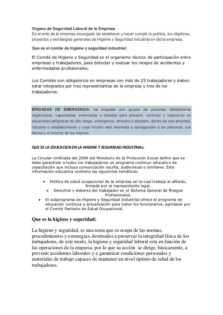 Organo de Seguridad Laboral de la EmpresaEs el ente de la empresa encargado de establecer y hacer cumplir la política, los...