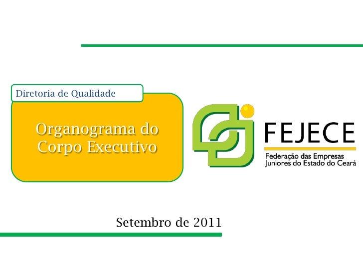 Diretoria de Qualidade    Organograma do    Corpo Executivo                         Setembro de 2011