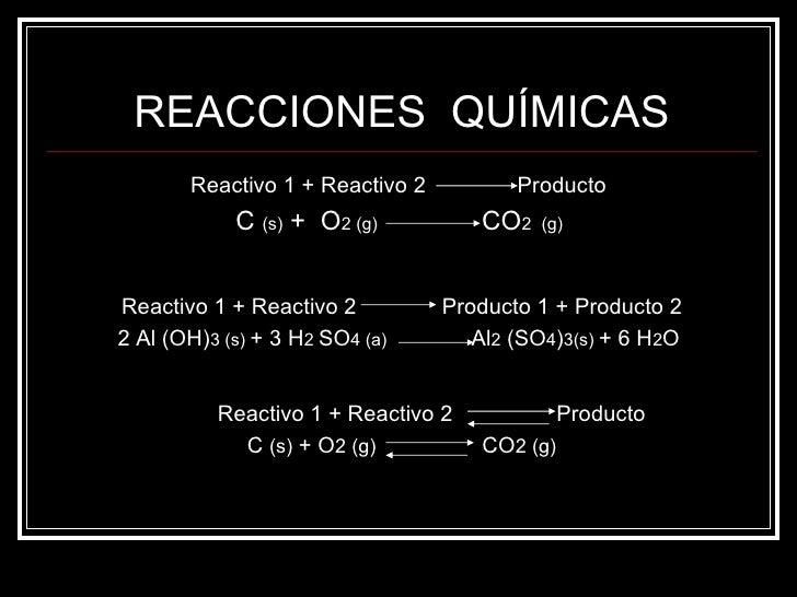 REACCIONES  QUÍMICAS <ul><li>Reactivo 1 + Reactivo 2  Producto   </li></ul><ul><li>C  (s)  +  O 2 (g)   CO 2  (g)  </li></...