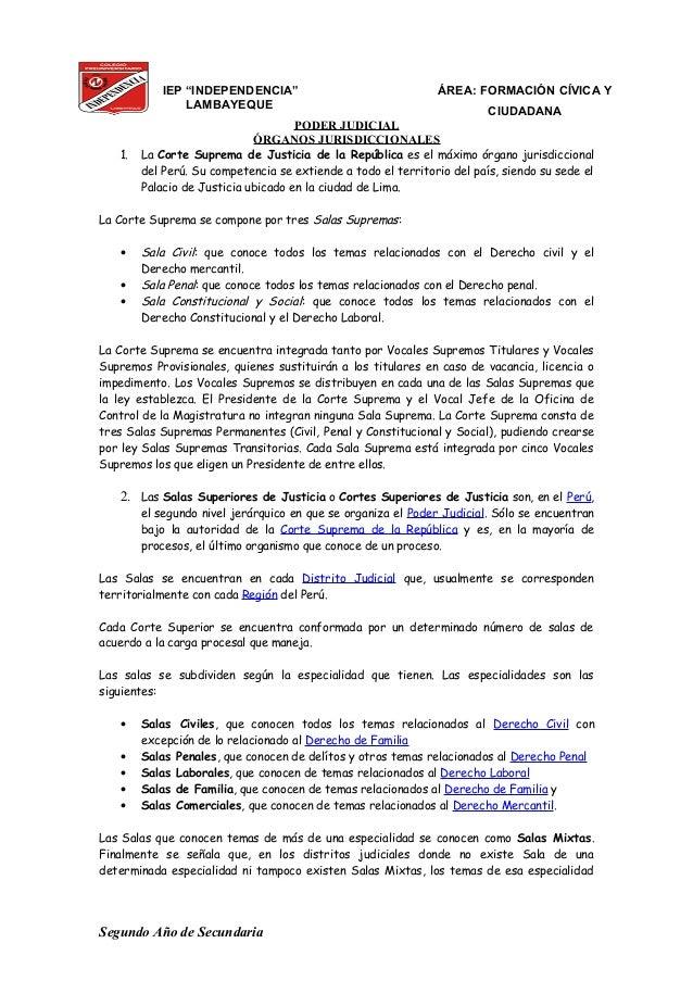 """IEP """"INDEPENDENCIA"""" LAMBAYEQUE ÁREA: FORMACIÓN CÍVICA Y CIUDADANA PODER JUDICIAL ÓRGANOS JURISDICCIONALES 1. La Corte Supr..."""